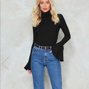 Black turtleneck ribbed top